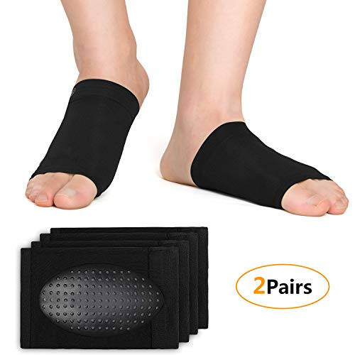 exeblue Plantar Fasciitis Socks with Arch Support for Women & Men, Elastic Bandage Foot Arch Socks with Massage Point(2 Pairs-Black One Size Fits All)