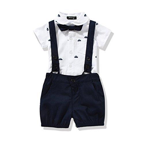 FERENYI US Baby Boys Bowtie Gentleman Romper Jumpsuit Overalls Rompers (0-6 Months, Navy Blue)