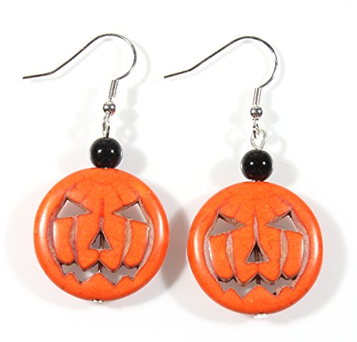 Style-ARThouse Trick or Treat Pumpkin Halloween Earrings, Dangle 1.75 Inches
