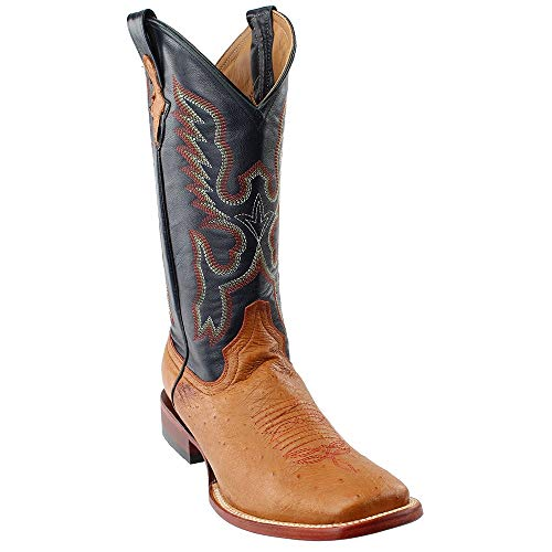 - Ferrini Men's Smooth Ostrich Square Toe Cognac Western Boot, 11 D US