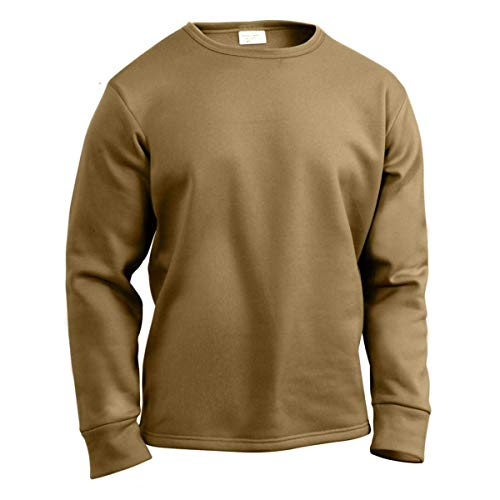 (Thermal Top, Polypro, Crew Neck, Brown, Size Medium)