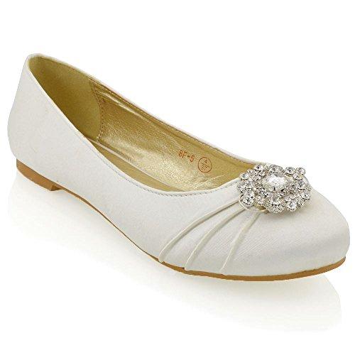 Avorio Raso Donna Diamante Da Scarpe Pompe Spilla In Essex Sposa Glam Px6wXz