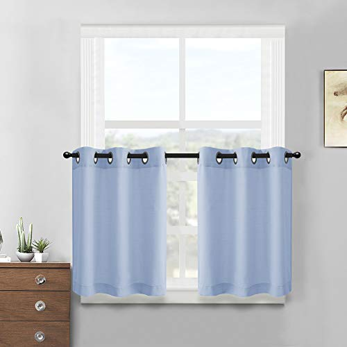 Short Window Tiers Curtains for Kitchen Casual Weave Privacy Semi Sheer Tier Curtain Panels for Bathroom 2 Panels, Light Blue, 36