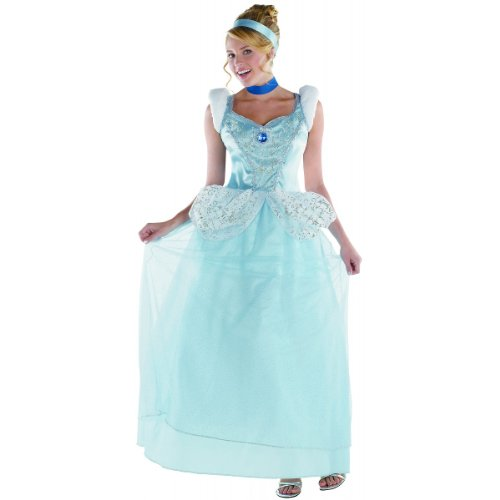 Disguise Disney Cinderella Adult Deluxe Costume, Light Blue/White, -