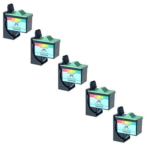 AMTONER Remanufactured for 10N0202 Ink (#26) Color Ink Combo Pack (275 Yield) for Z13 Z23 Z25 Z33 Z35 Z515 Z605 Z611 Z616 Z645 Z75 X1150 X1185 X1270 (Includes 5 Pack 10N0026 Tri-color)