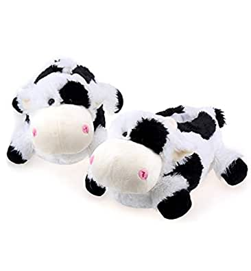 Onmygogo Indoor Fuzzy Winter Animal Panda and Cow Plush Slippers for Adult Women Men Boys Girls Kids Black Size: 7-9