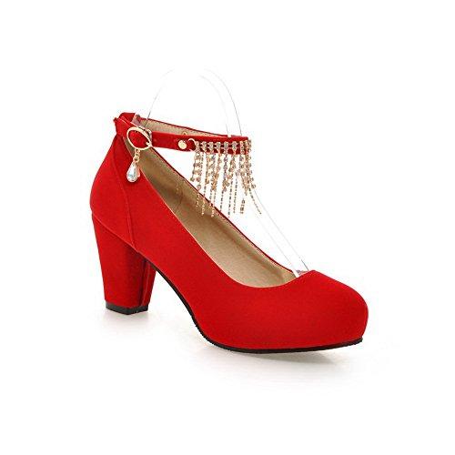 BalaMasa Womens Studded Rhinestones Metal Buckles Tassels Metal Ornament Red Imitated Leather Pumps-Shoes - 5 B(M) (Satin Sandal Rhinestone Ornament)