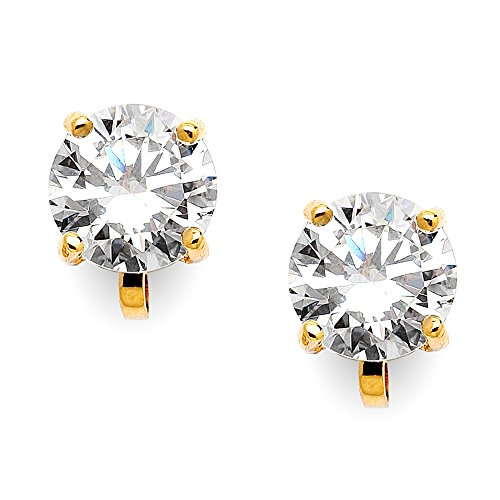 14kt Gold Plated Rhinestone Earrings - Mariell 14KT Gold-Plated 2 Carat CZ Clip-On Earrings - 8mm Round-Cut Solitaire Cubic Zirconia Studs