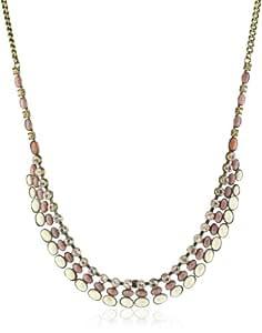 "Sorrelli "" Andalusia"" Riverstone, Salmon Jade, Light Colorado and Rhinestone Chain Necklace"