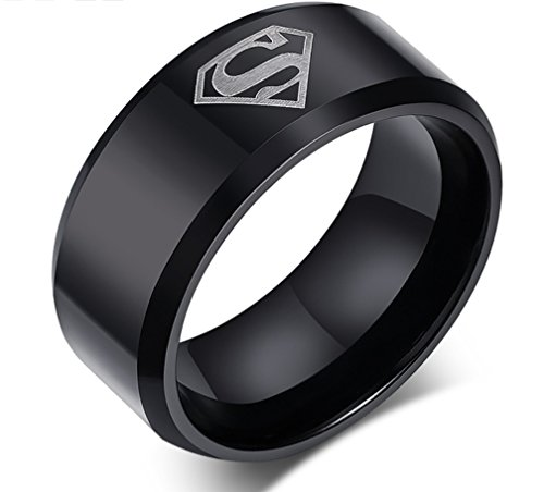 SUPERMAN Logo Black Stainless Steel Band RING/PENDANT w/ 18
