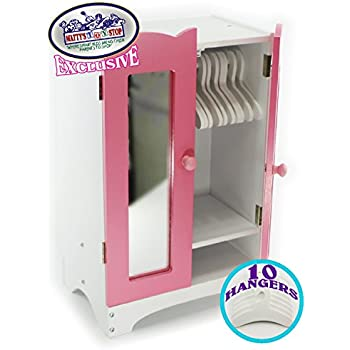 Mattyu0027s Toy Stop 18 Inch Doll Furniture Pink/White Wooden Armoire Closet  With 10 Hangers   Fits American Girl Dolls