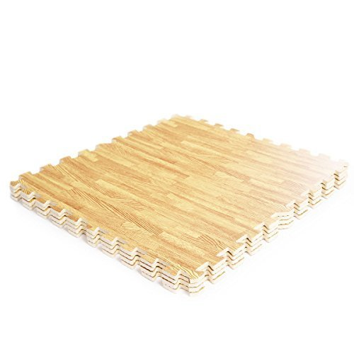 48 Sq Ft EVA Foam Floor Interlocking Mat Show Floor Gym Mat Wood Color (Tri Fold Seat Cushion)
