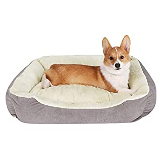 JEMA Rectangle Dog Bed - Lounger for Dogs & Cats with Self Warming Cozy Reversible Removable Inner Plush Cushion, Non Slip Waterproof Bottom, Square Medium Cuddler Pet Bed