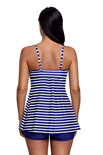 New blu e bianco a righe Strappy 2PCS Tankini set bikini Swimsuit Swimwear estivo taglia UK 14EU 42
