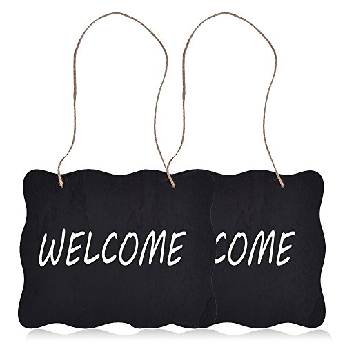 Coolrunner 2pcs Wood Black Vintage Style Chalkboard Sign Message Board Place Cards with Jute Hanging String for Wedding Signs Kitchen Pantry Table Numbers Food Signs andl Wall Decoration