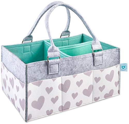 LITTLEGEM4U Baby Diaper Caddy Organizer - Baby Shower Gift Basket for Boys Girls | Diaper Organizer for Changing Table | Baby Registry Must Haves | Collapsible Caddy Organizer for Car & Travel | Mint