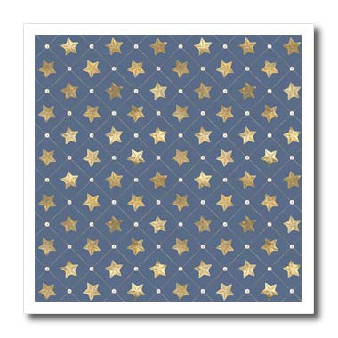 3dRose Anne Marie Baugh - Patterns - Chic Blue and Image of Gold Star Fish in Diamond Point Pattern - 8x8 Iron on Heat Transfer for White Material (ht_317629_1) ()