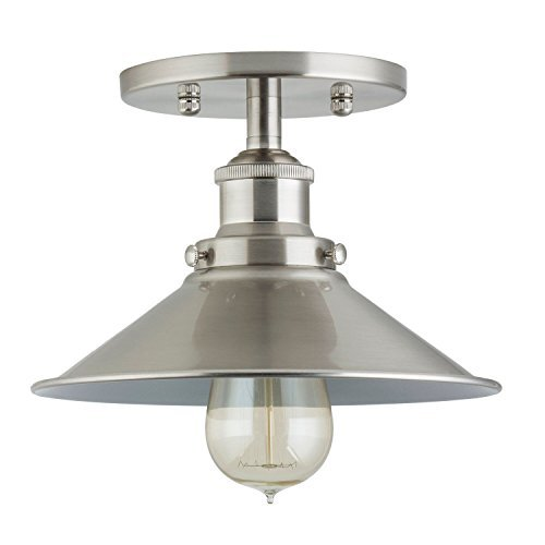 Andante Industrial Vintage Ceiling Light Fixture | Brushed Nickel Semi Flush Mount Ceiling Light with Bulb ()