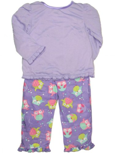 Sleeping Owl 2 Piece Poly Toddler Girl Pajamas by Little Me - Purple - 4T
