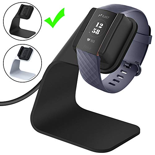 CAVN Compatible Fitbit Charge 3 / Charge 3 SE Charger Dock, Replacement Charging Cable Cord Stand Cradle Base with 4.2 ft USB Cable Accessories Compatible Fitbit Charge 3 Smartwatch (Black)