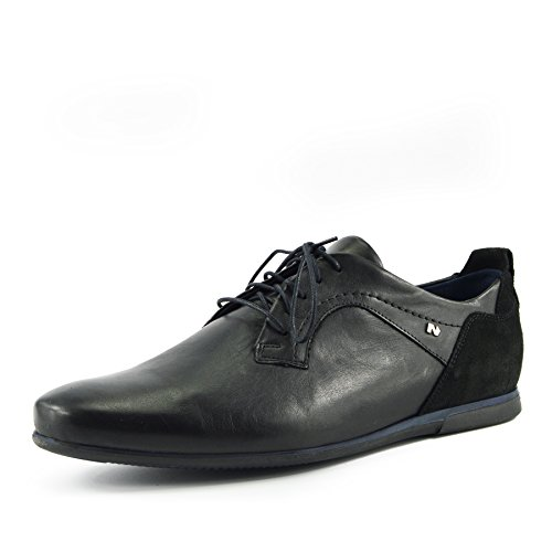 Kick Footwear - Mens Smart Real Leather Upper Casual Black Formal Lace Up Shoes Black-Navy