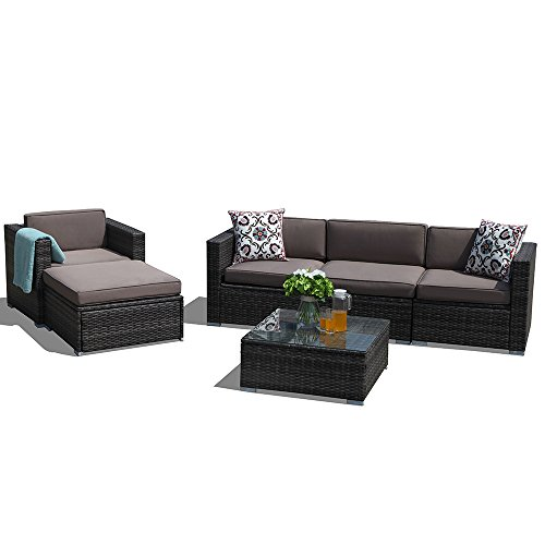 Discount Wicker Furniture - Super Patio Outdoor Patio Furniture Set, 6 Piece Outdoor Rattan Sectional Furniture Set with Light Brown Seat and Back Cushions, Gray