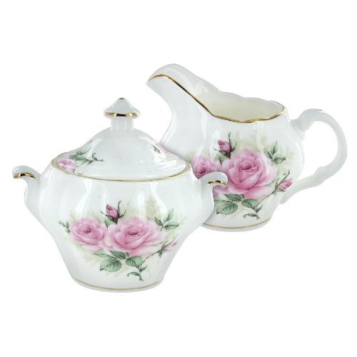 Coastline Imports Rose Bouquet Bone China Sugar And Creamer (Bouquet Creamer)