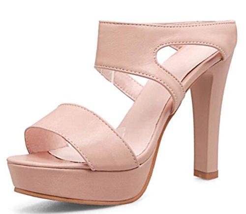 IDIFU Women's Comfy Platform High Block Heels Open Toe Mules Sandals
