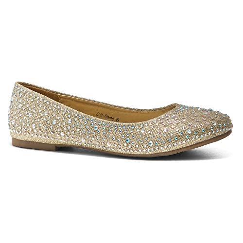 Herstyle Women's Sole-Shine Round Toe Jeweled Embellishments Rhinestone Ballet Flats Shoes Gold 6.0 ()