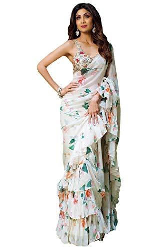 Sari Frill Ruffle Border Bollywood Georgette Print (White) ()
