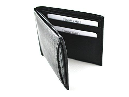 Sanmarc Genuine Leather Men's Wallet, Classic Bi-fold with Removable ID Holder, Black - Classic Bi Fold