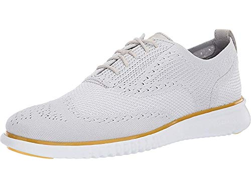 Cole Haan Men's 2.Zerogrand Stitchlite Oxford Glacier Gray/Optic White Knit/Sunset Gold/Optic White 14 D US