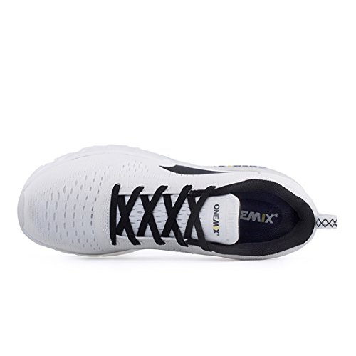 OneMix Mens Air Trainers Gym Fitness Comfort Sports Walking Mesh Black White Running Shoes White RV6IVcJ6s2