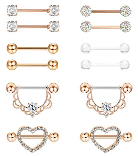 Masedy 6 Pairs 14G 316L Stainless Steel Nipplerings Nipple Tongue Rings Women Girls CZ Barbell Body Piercing Jewelry Rose-Gold (Barbell Gold Titanium)
