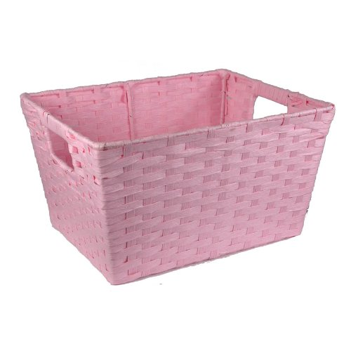 The Lucky Clover Trading Paper Fiber Storage Display Basket, Pink