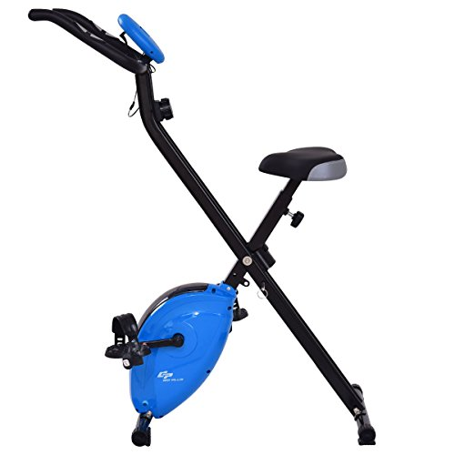 Goplus Magnetic Resistance Upright Bike Flywheel Bike Bicycle Cardio Fitness Equipment W/ Phone Holder (Blue)