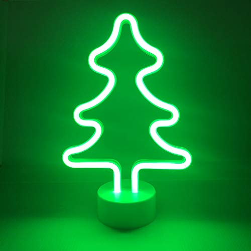 Neon Christmas Tree Indoor Night Light, LoveNite Battery Operated Glowing Neon Decorative Sign LED Light for Room Party Festival Decorations(Green, Christmas Tree)