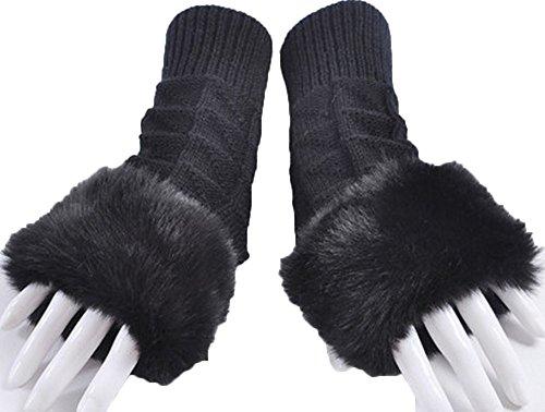 封建一般化する船尾(ブリランテ) BRILLANTE 手袋 ファー ロング丈 ふわふわ 防寒 レディース 306 ブラックType3