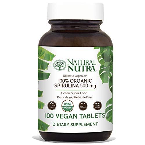 - Natural Nutra 100% USDA Organic Spirulina Tablets, Blue Green Algae Protein Pills with Rich Minerals, Vitamins, Chlorophyll, Amino Acids, Carotenoids, Antioxidants and EFAs, 3000 mg, 100 Vegan Tablets