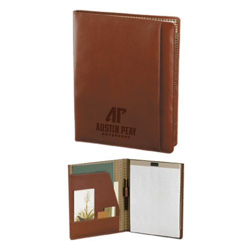 Austin Peay Cutter & Buck Chestnut Leather Writing Pad 'AP Austin Peay Governors - Official Athletic Logo Engraved' by CollegeFanGear