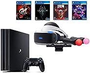 PlayStation PS4 Pro Bundle (6 Items): VR Starter Bundle, PS4 Pro 1TB Console= Jet Black, 4 Game Discs: Gran Tu