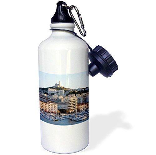 Vieux Port - Danita Delimont - France - France, Marseille. Vieux-Port with Basilique Notre Dame de la Garde - 21 oz Sports Water Bottle (wb_227261_1)