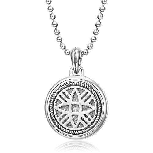 (Carleen Sterling Silver Round Tag Hope Energy Charm Vintage Oxidized Black Pendant Necklace For Men Boys, Ball Chain Length 24