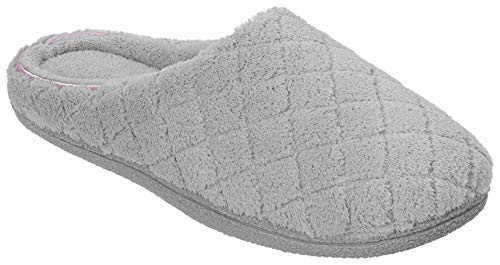 Quilt Lady - Dearfoams Womens Quilt Memory Foam Clog Slippers Medium Medium Grey