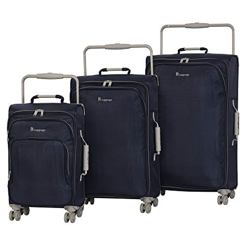 IT Luggage World's Lightest 8 Wheel 3 Piece Set, Magnet With Cobblestone Trim
