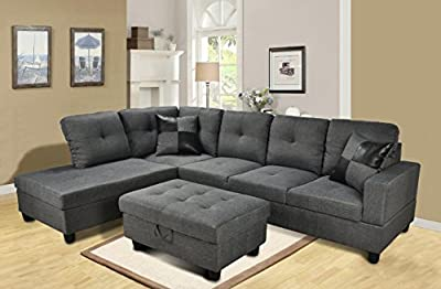 Beverly Furniture 3 Piece Microfiber and Faux Leather Upholstery Right-facing Sectional Sofa Set with Storage Ottoman, Gray