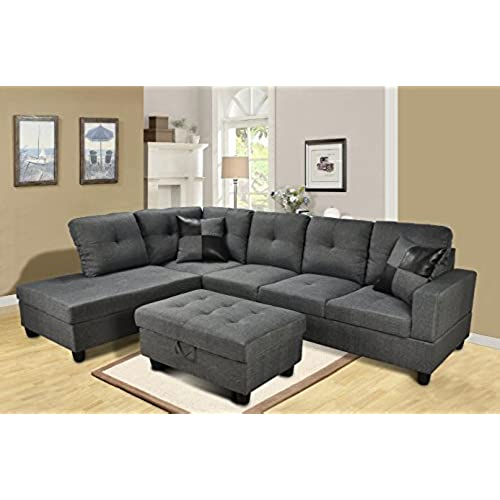 Beverly Furniture 3 Piece Microfiber And Faux Leather Upholstery  Right Facing Sectional Sofa Set With Storage Ottoman, Gray