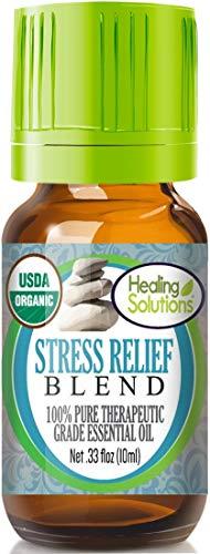 (Organic Stress Relief Blend Essential Oil (100% Pure - USDA Certified Organic) Best Therapeutic Grade Essential Oil - 10ml)