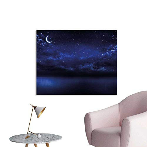 Night Sky Wall Decoration Starry Cartoon Design Sky with Lunar Moon and Stars Clouds Sea Scenery Wallpaper Mural W32 xL24 ()