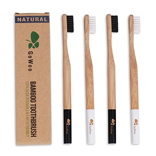 GoWoo Bamboo Toothbrushes Set, Natural, Organic, eco Friendly, With Soft Bristles, From earth to earth – Pack Of 4 (pack of 4, Panda)